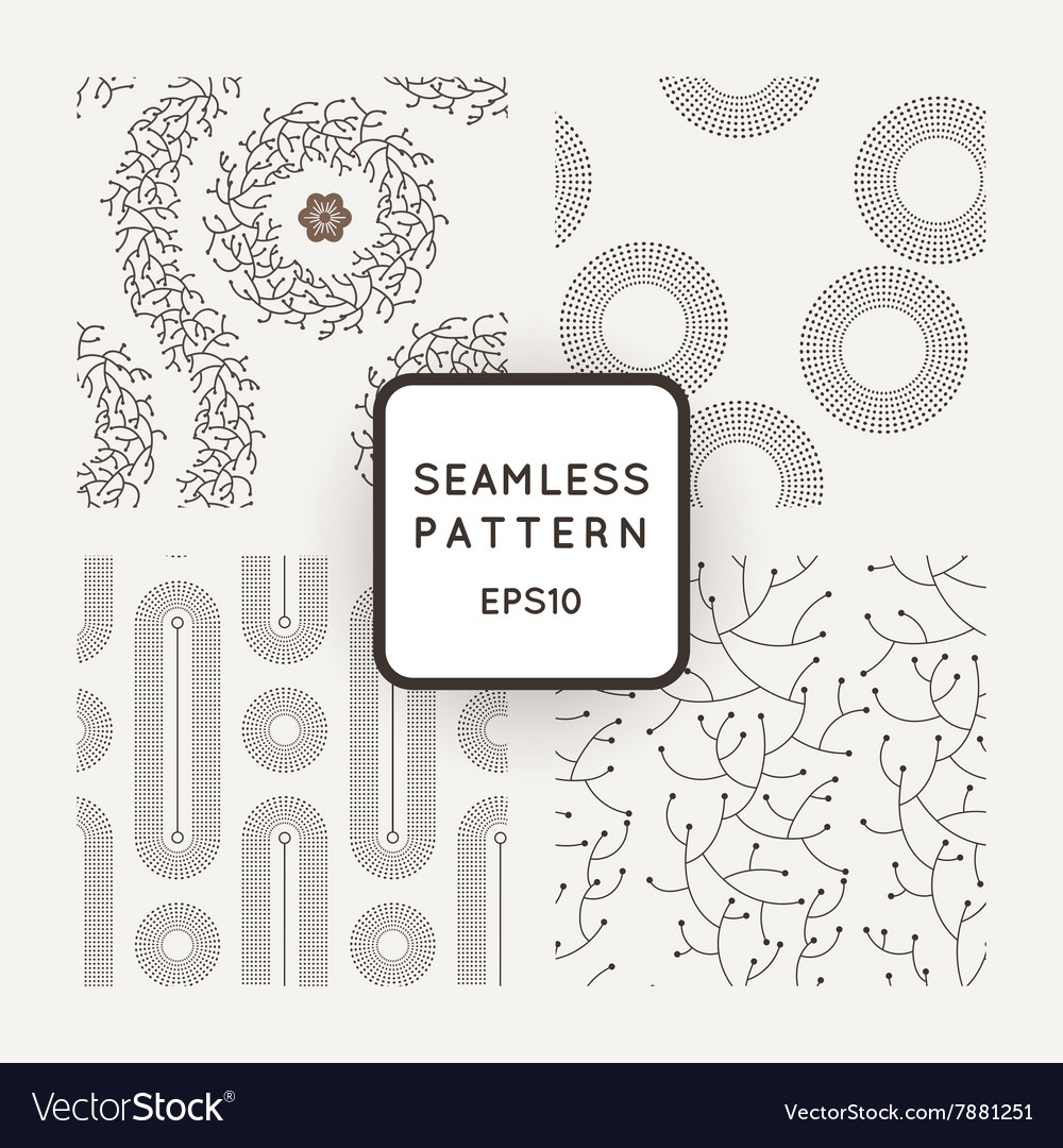 Set of seamless patterns with dotted and