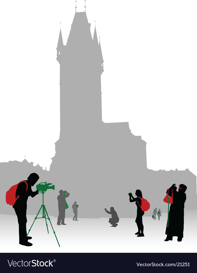 Tourist in city vector image