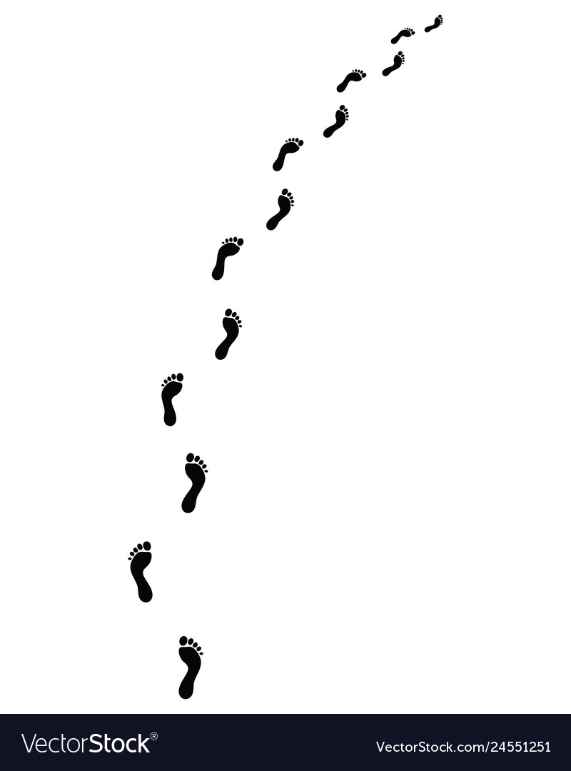 Trail of human bare footsteps