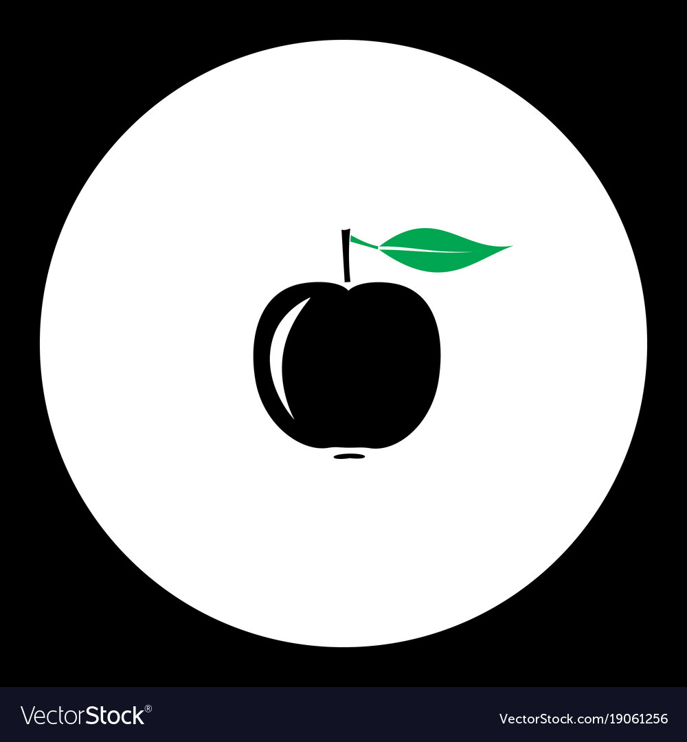 Apple fruit simple black and green icon eps10 vector image