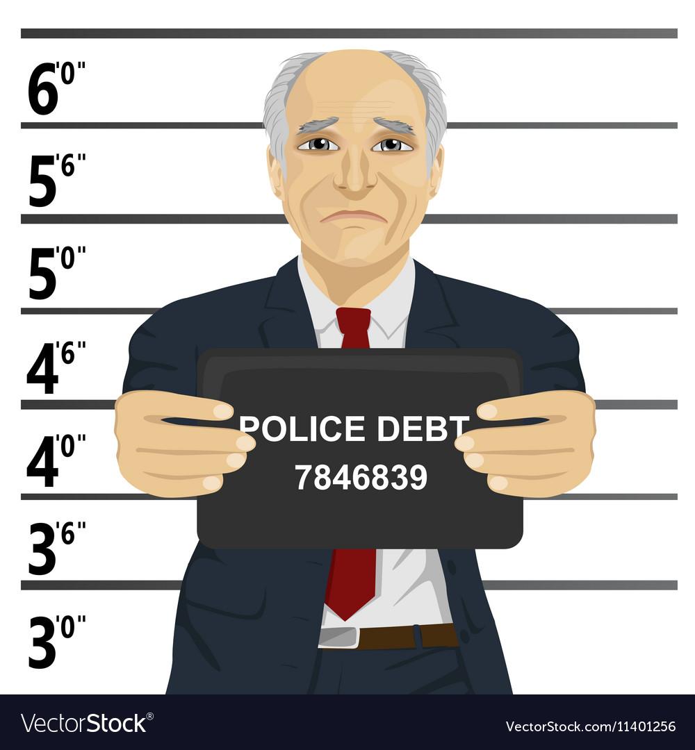 Arrested senior businessman posing for mugshot