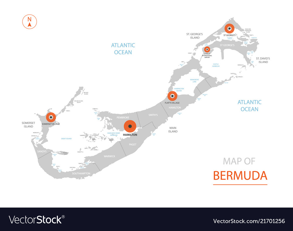 Bermuda map with administrative divisions Vector Image