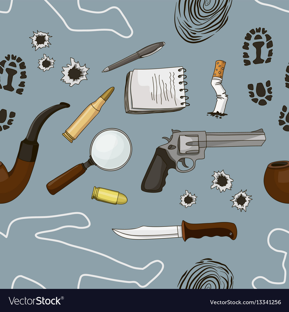 Detective crime icons set pattern
