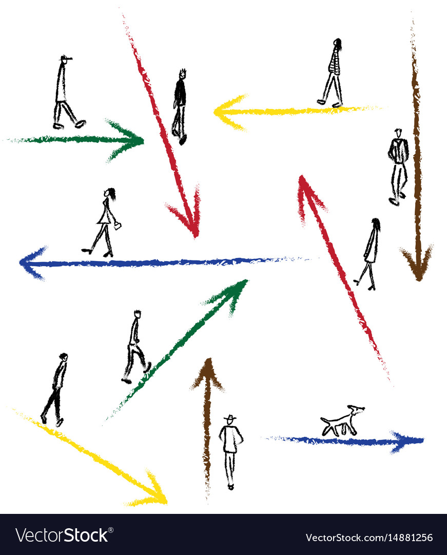 Drawn arrows for direction vector image