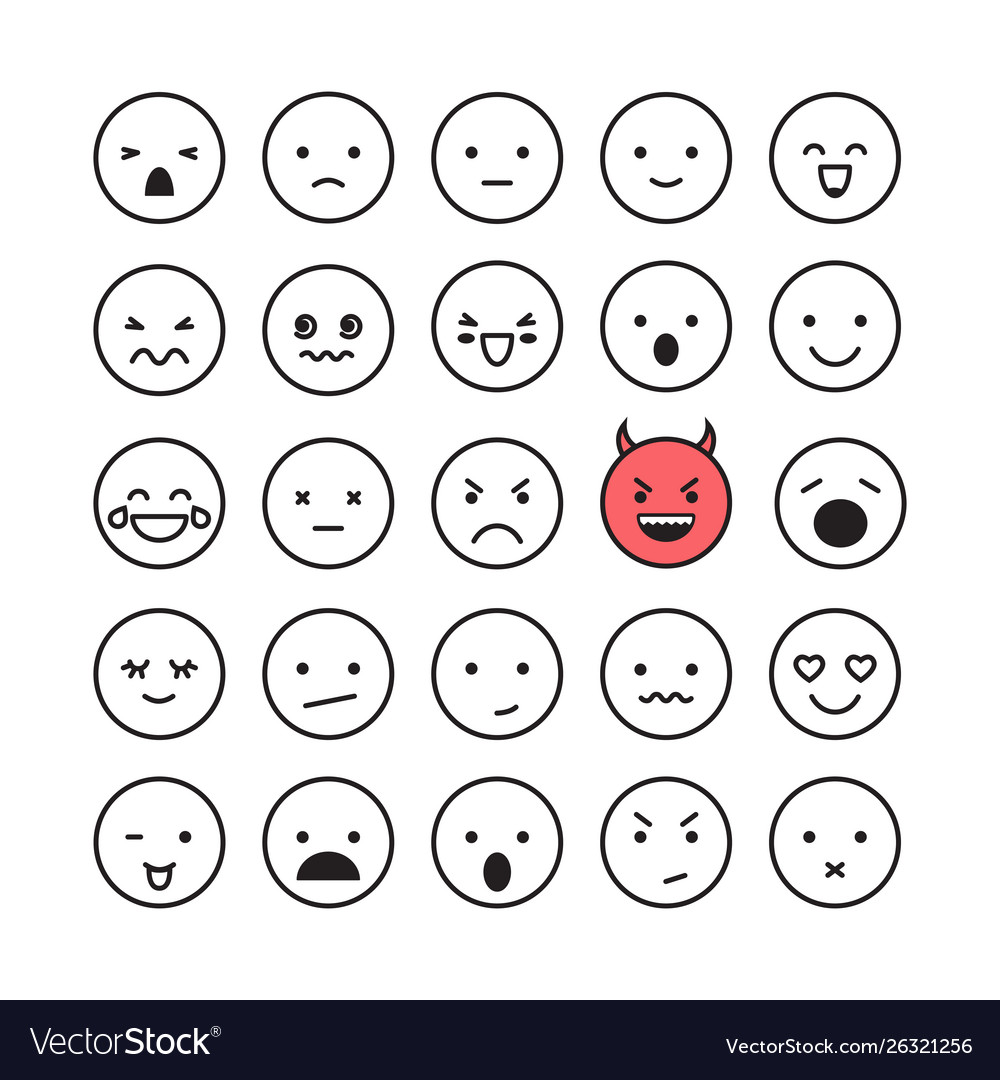 Emoticon smile face icon set