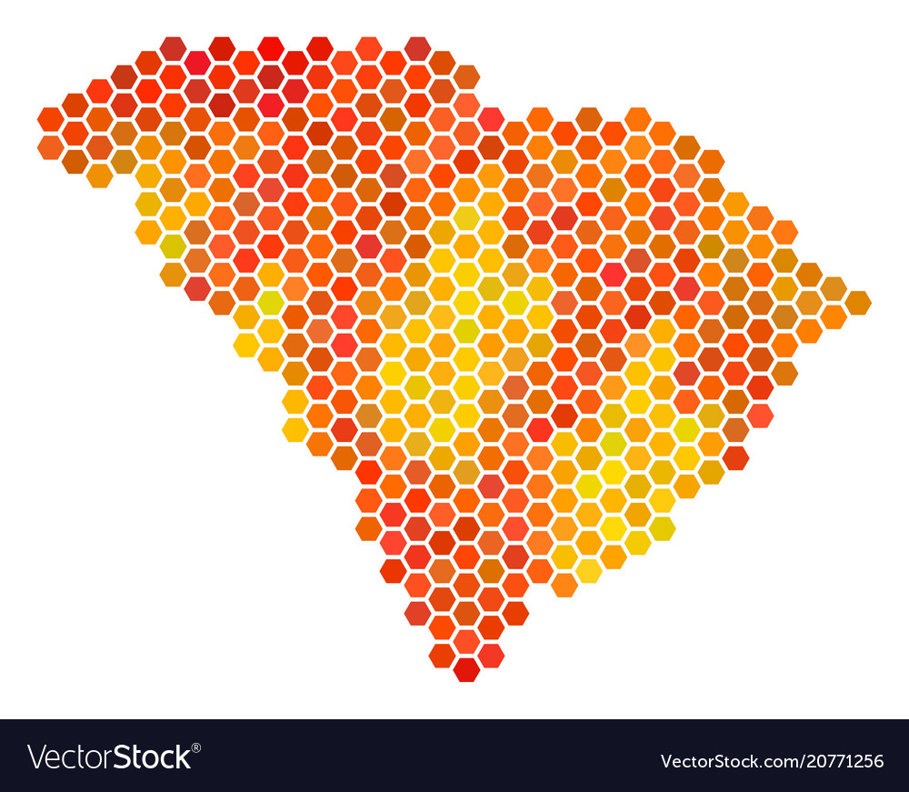 Fire hexagon south carolina state map Royalty Free Vector