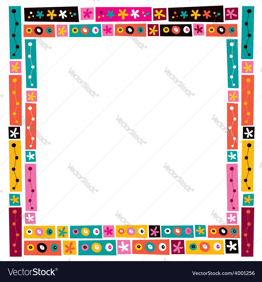 Flowers collage decorative frame border vector image