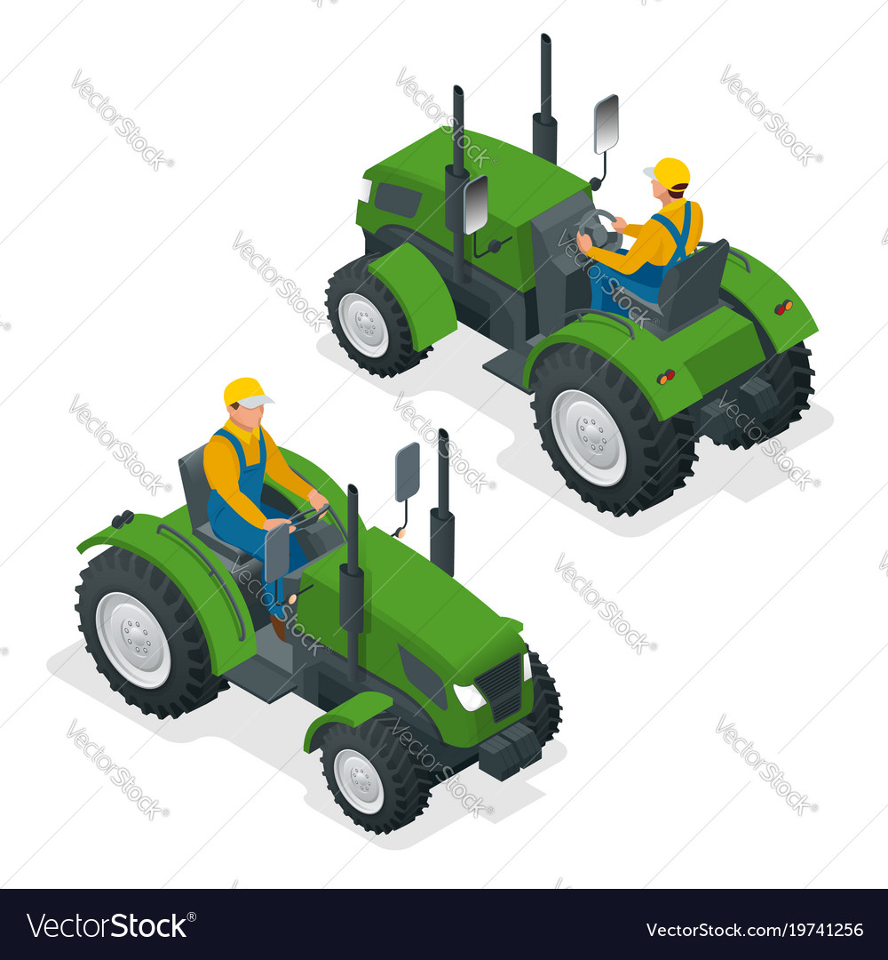 Isometric tractor works in a field agriculture