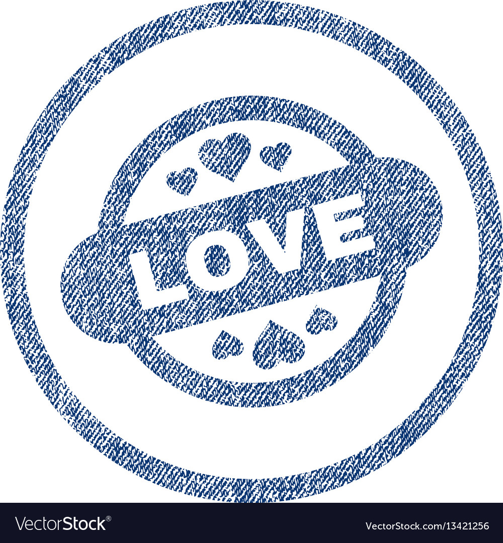 Love stamp seal rounded fabric textured icon
