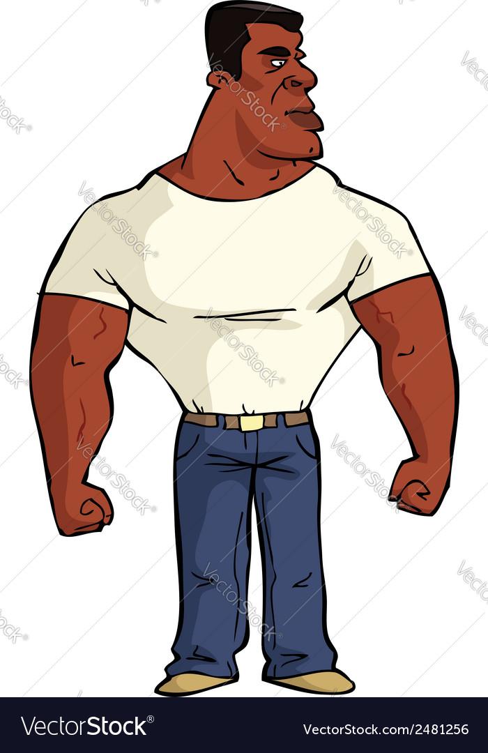 Muscular black man vector image