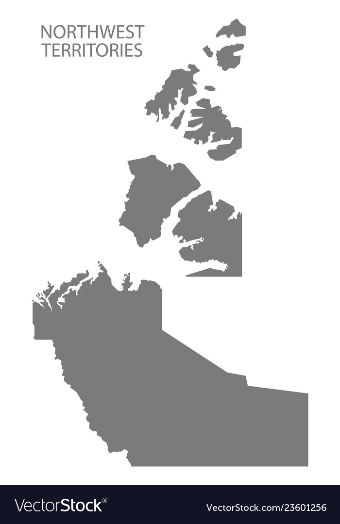 Northwest Territories Canada Map Grey Royalty Free Vector