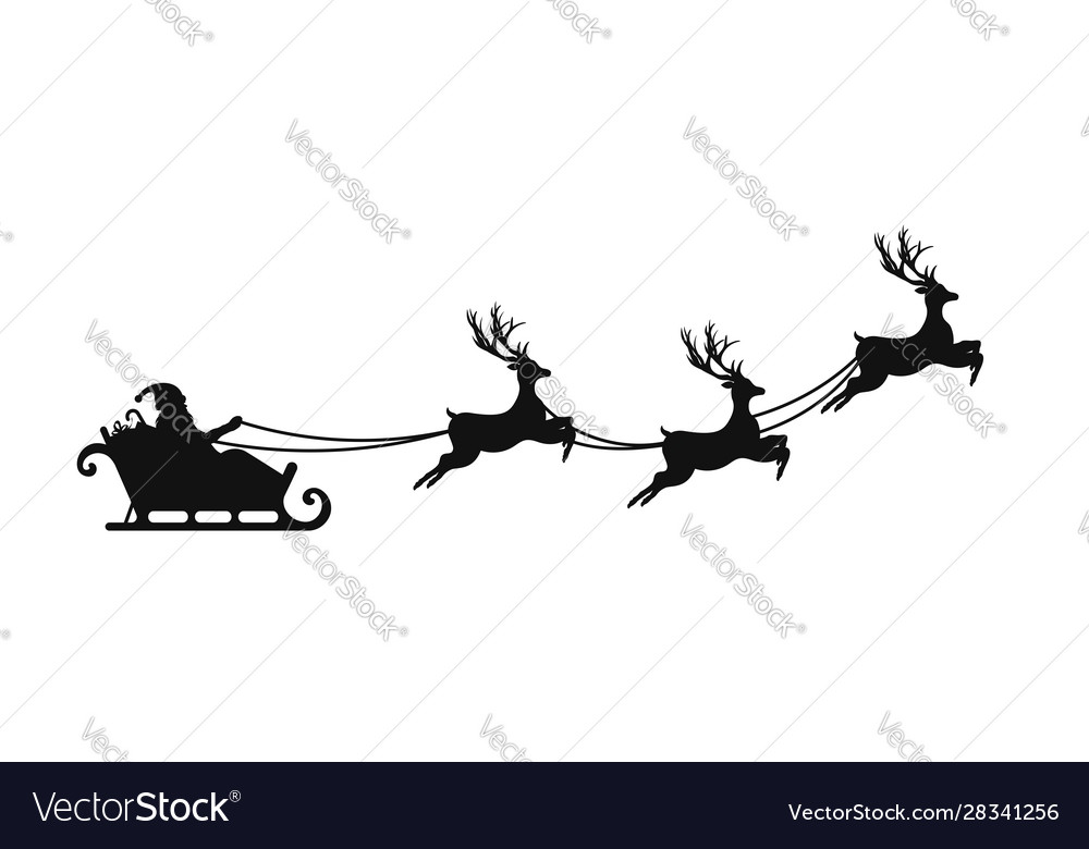 Santa claus is flying in sleigh with christmas