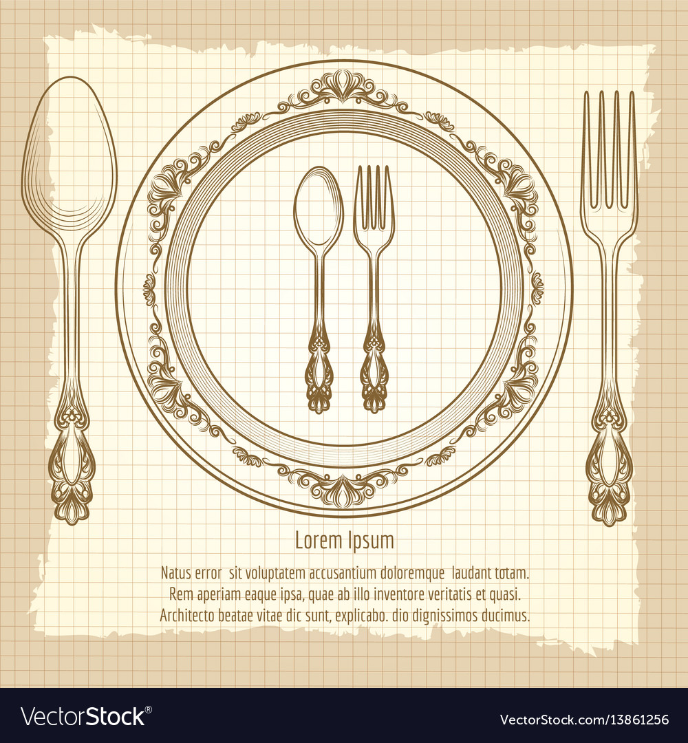 Table setting vintage poster design vector image