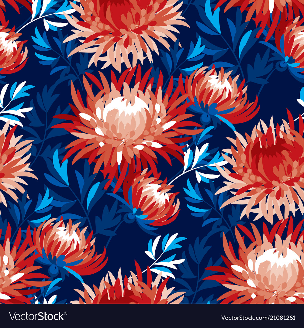 Abstract chrysanthemum floral seamless pattern