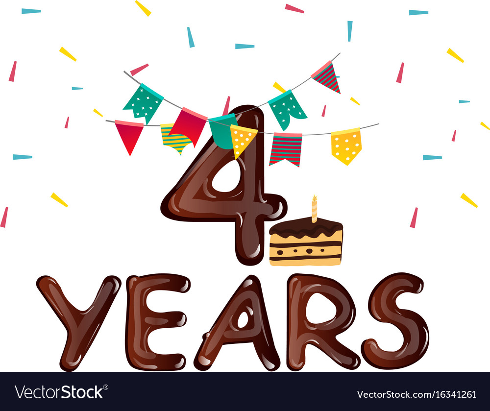 Birthday card for four years with cake vector image