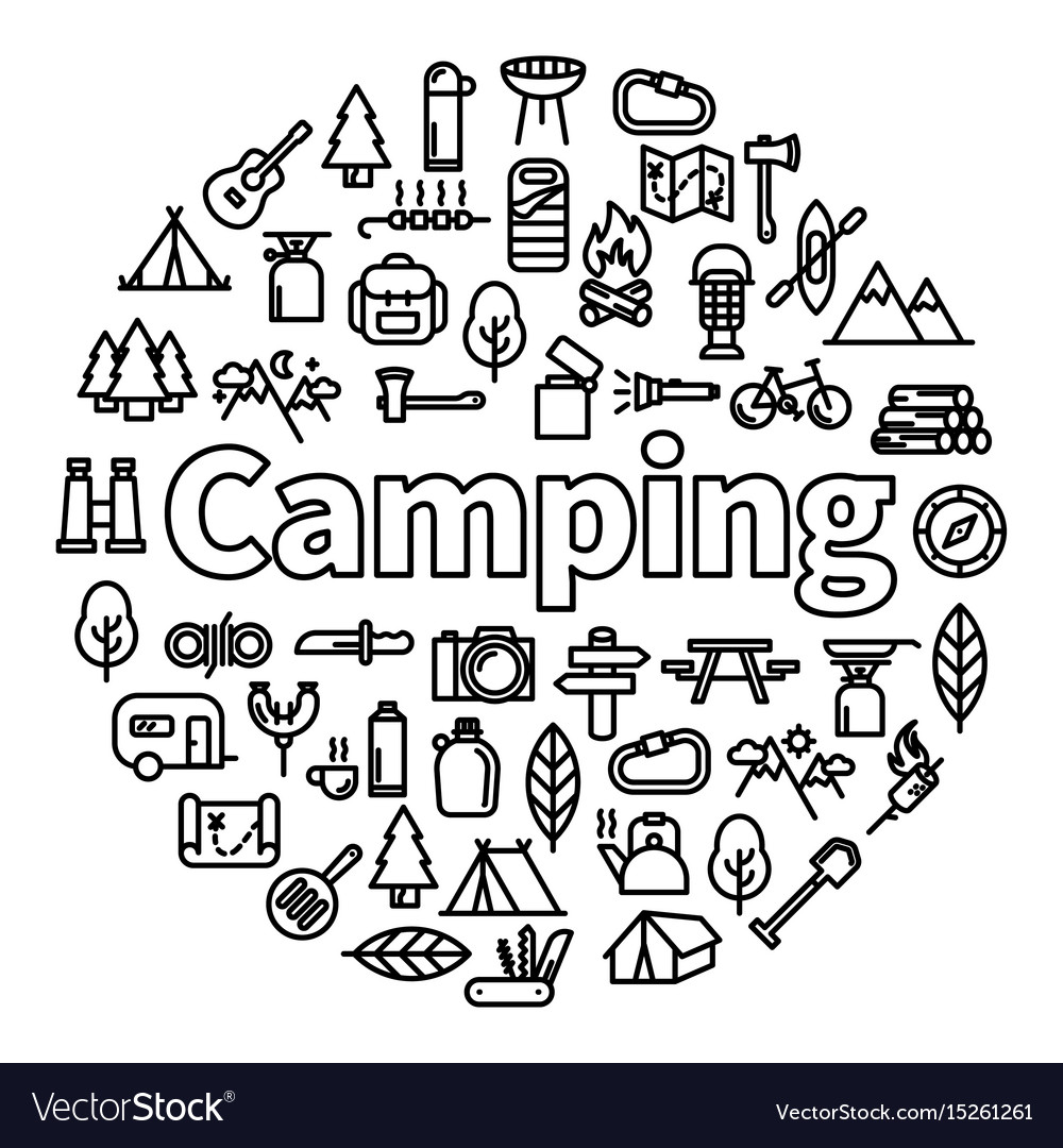 Camping word with icons