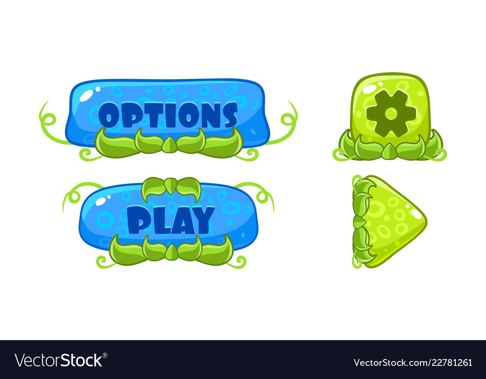 Cute green and blue glossy buttons with nature