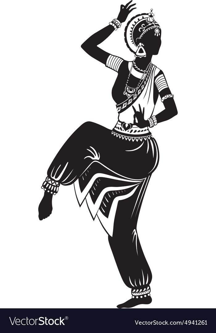 Ethnic Dance Indian Girl Royalty Free Vector Image