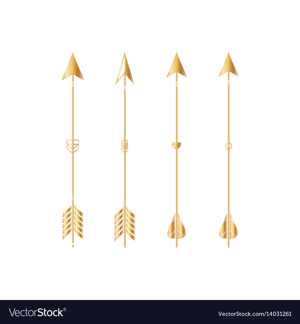 Gold arrows isolated on white background