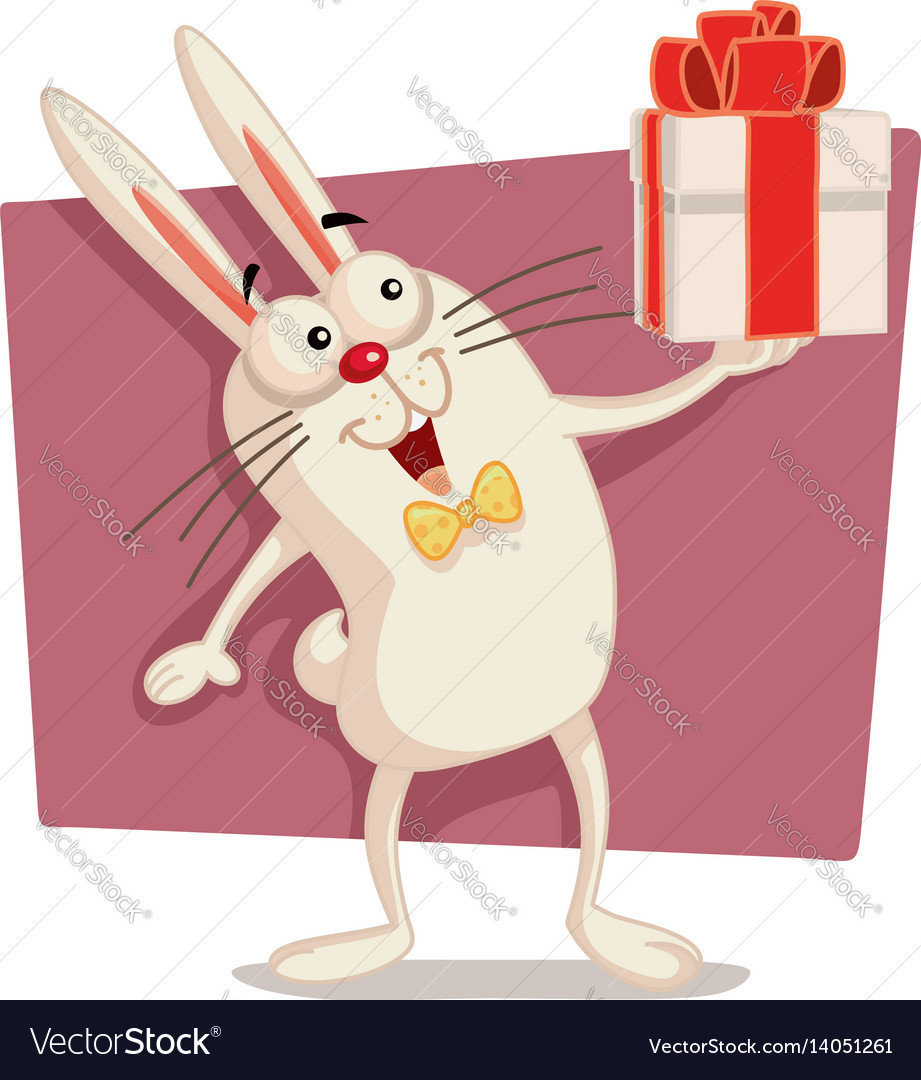 Happy easter bunny holding gift box cartoon vector image negle Gallery