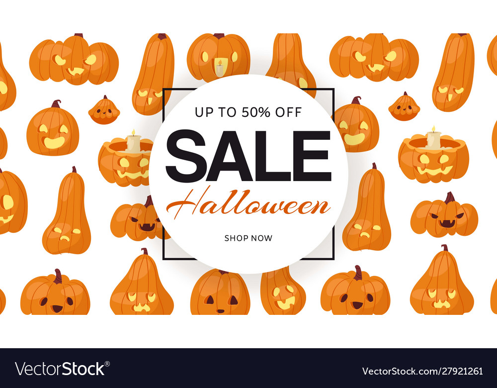 Holiday halloween sale with pumpkins heads pattern