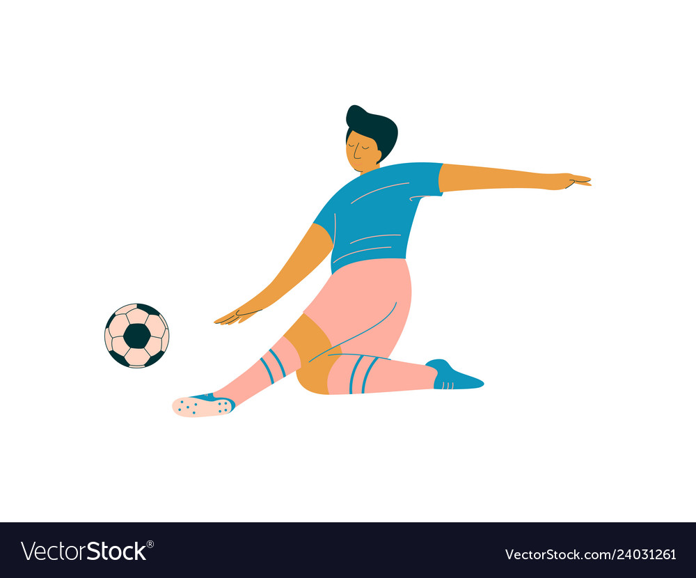 Male soccer player footballer character in sports