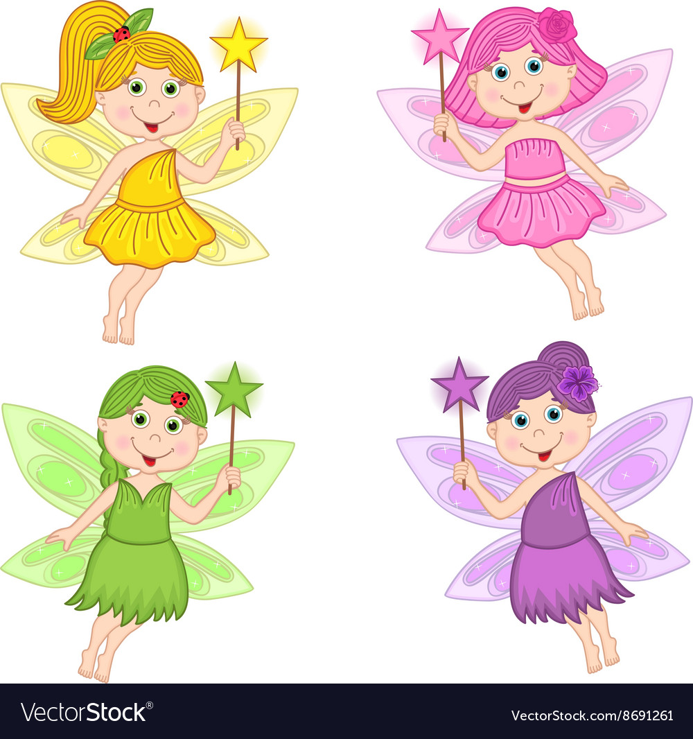Set of isolated color fairies
