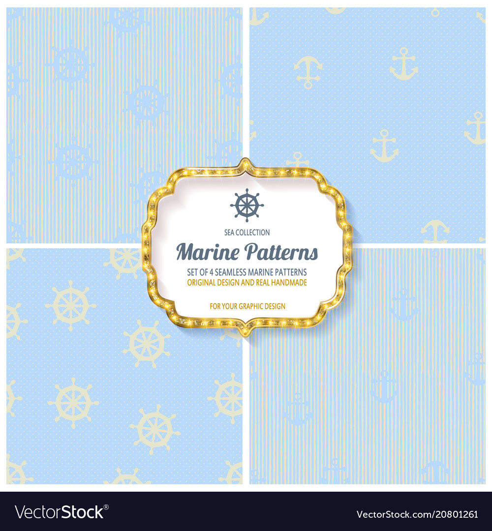 Set of seamless patterns in nautical style