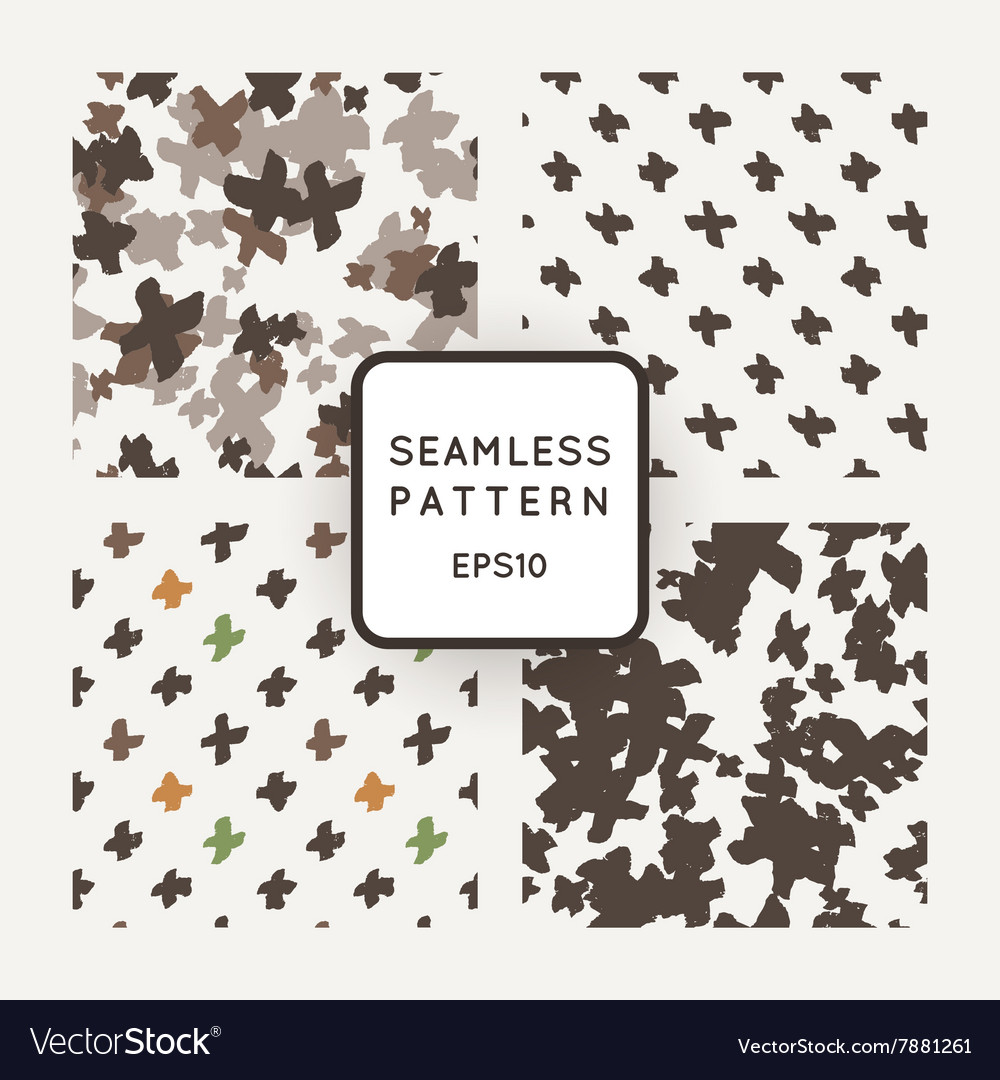 Set of seamless patterns with grungy cross