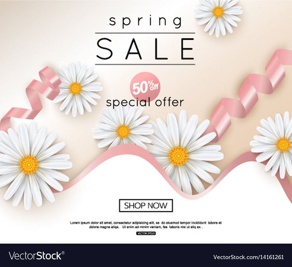 Spring sale banner with realistic daisy
