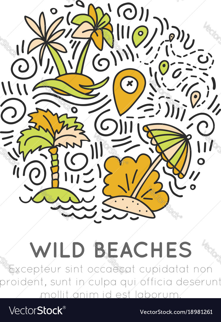 Tropical wild beach - icon hand draw concept in