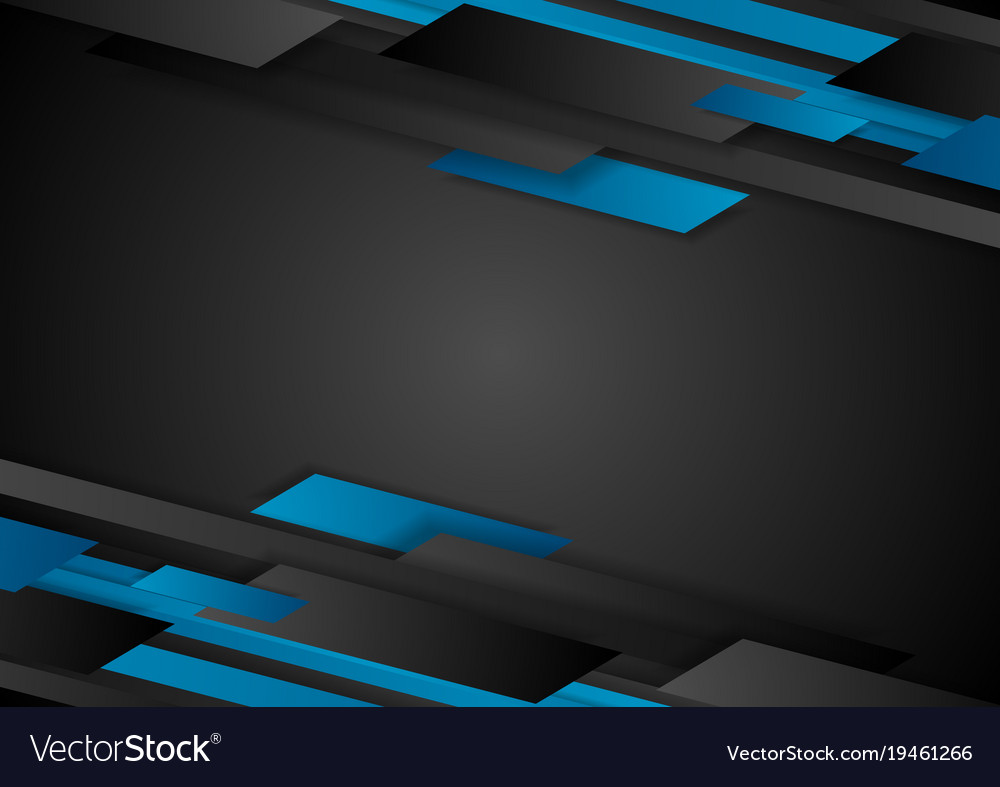 black and blue tech geometric abstract background vector image