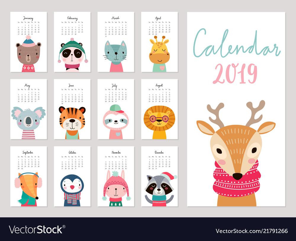 Calendar 2019 cute monthly calendar with animals