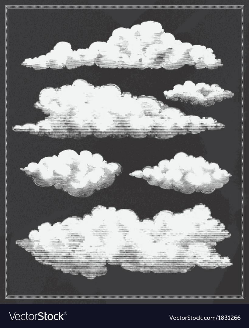 Chalkboard vintage clouds background