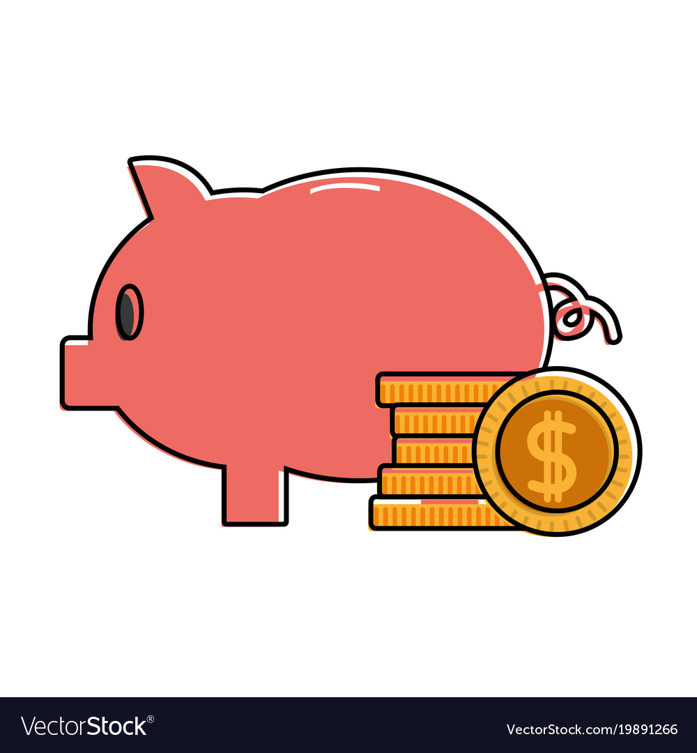 Color piggy to save money and coins cash currency vector image
