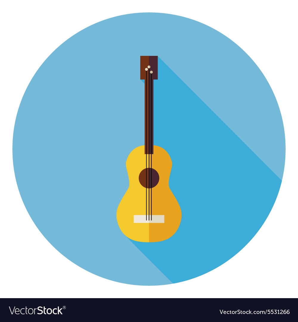 Flat Acoustic String Guitar Circle Icon with Long