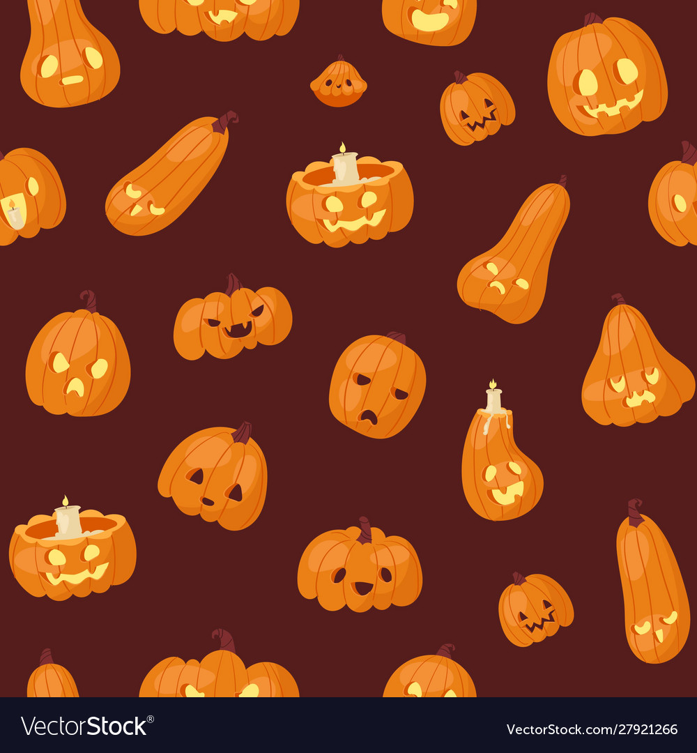 Halloween pumpkins heads with scary faces seamless