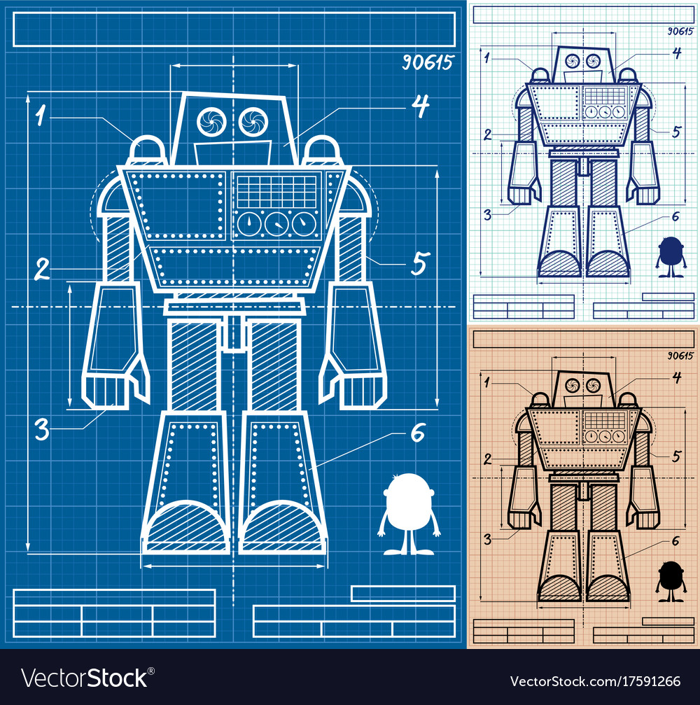Robot blueprint cartoon royalty free vector image robot blueprint cartoon vector image malvernweather Images