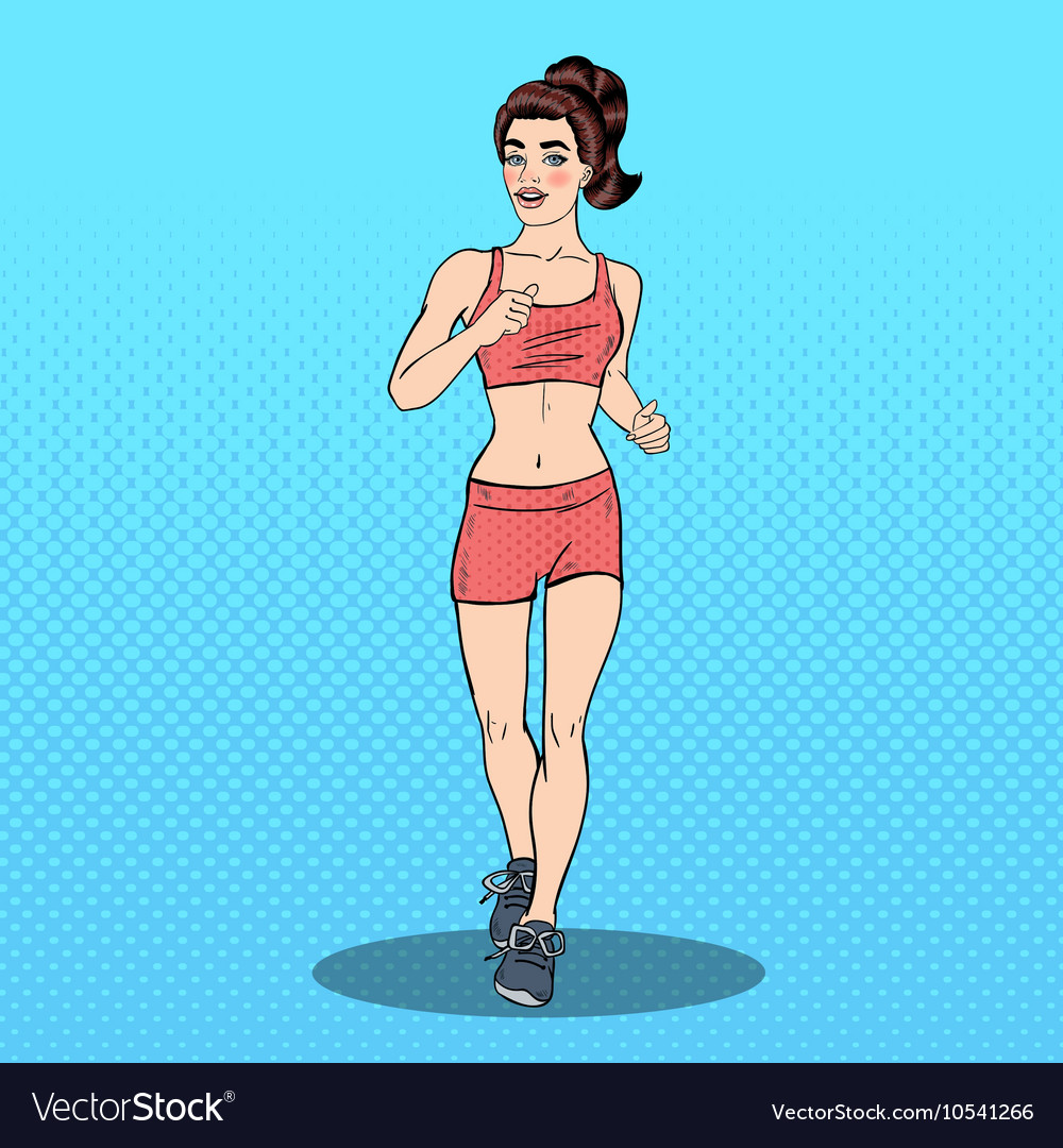 Young Fit Pop Art Woman Running