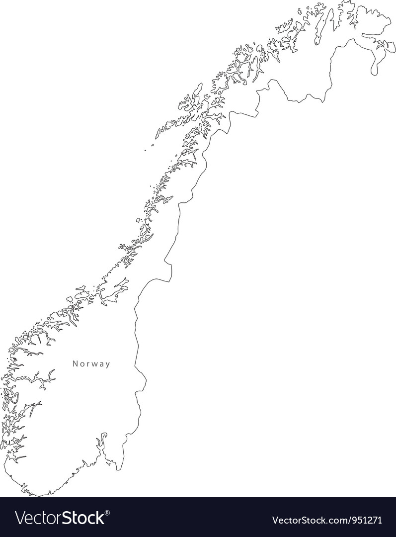 Black White Norway Outline Map vector image