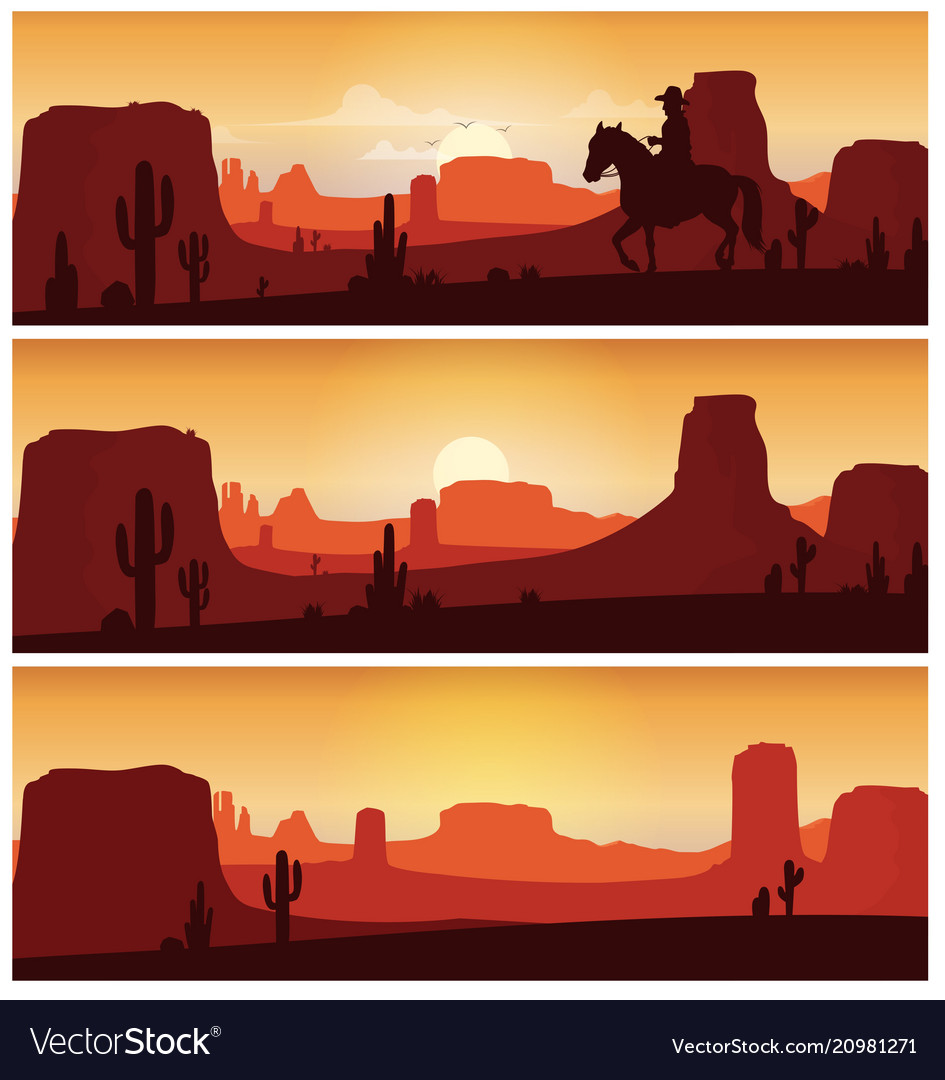 Cowboy riding horse against sunset background wil