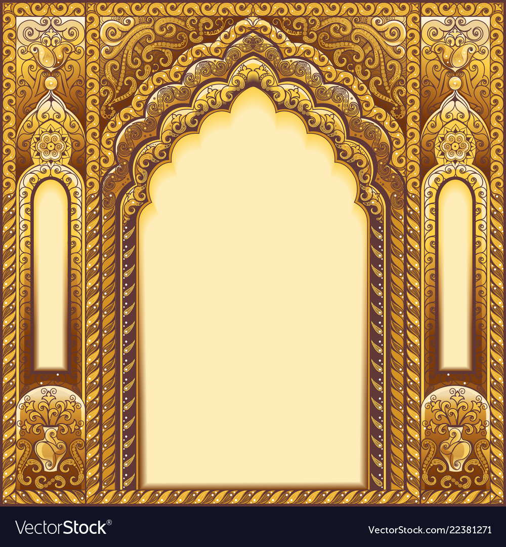 Indian ornamented arch color gold