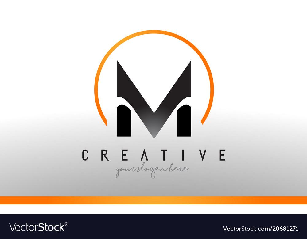 M letter logo design with black orange color cool Vector Image