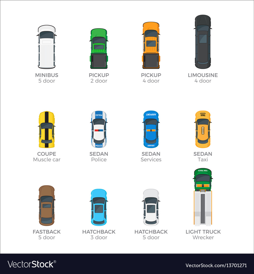 Modern vehicle transport top view icons set