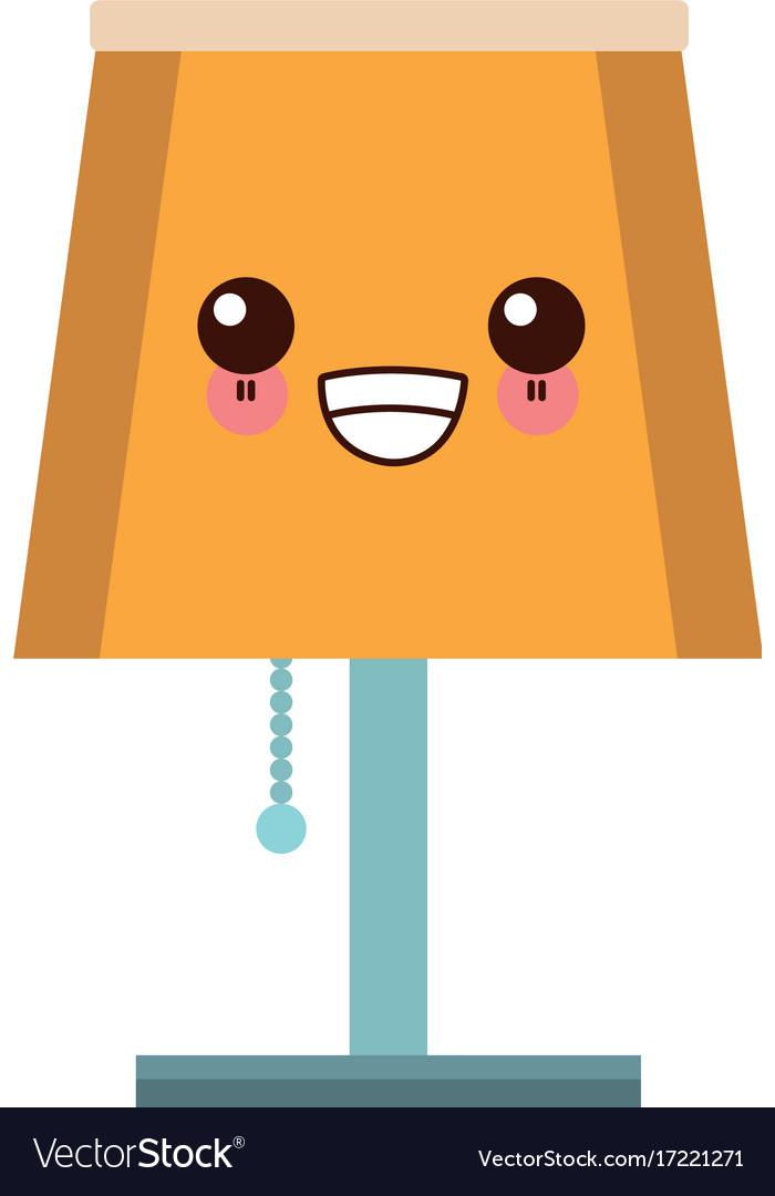 night light lamp cute kawaii cartoon royalty free vector