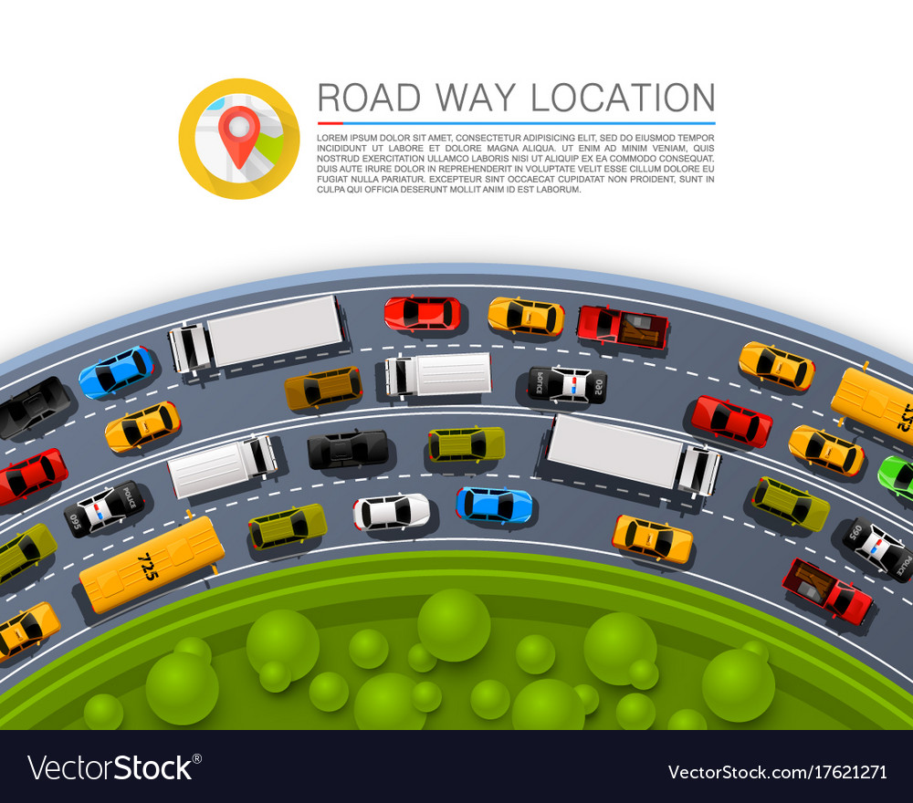Road way location car racing info art cover vector image