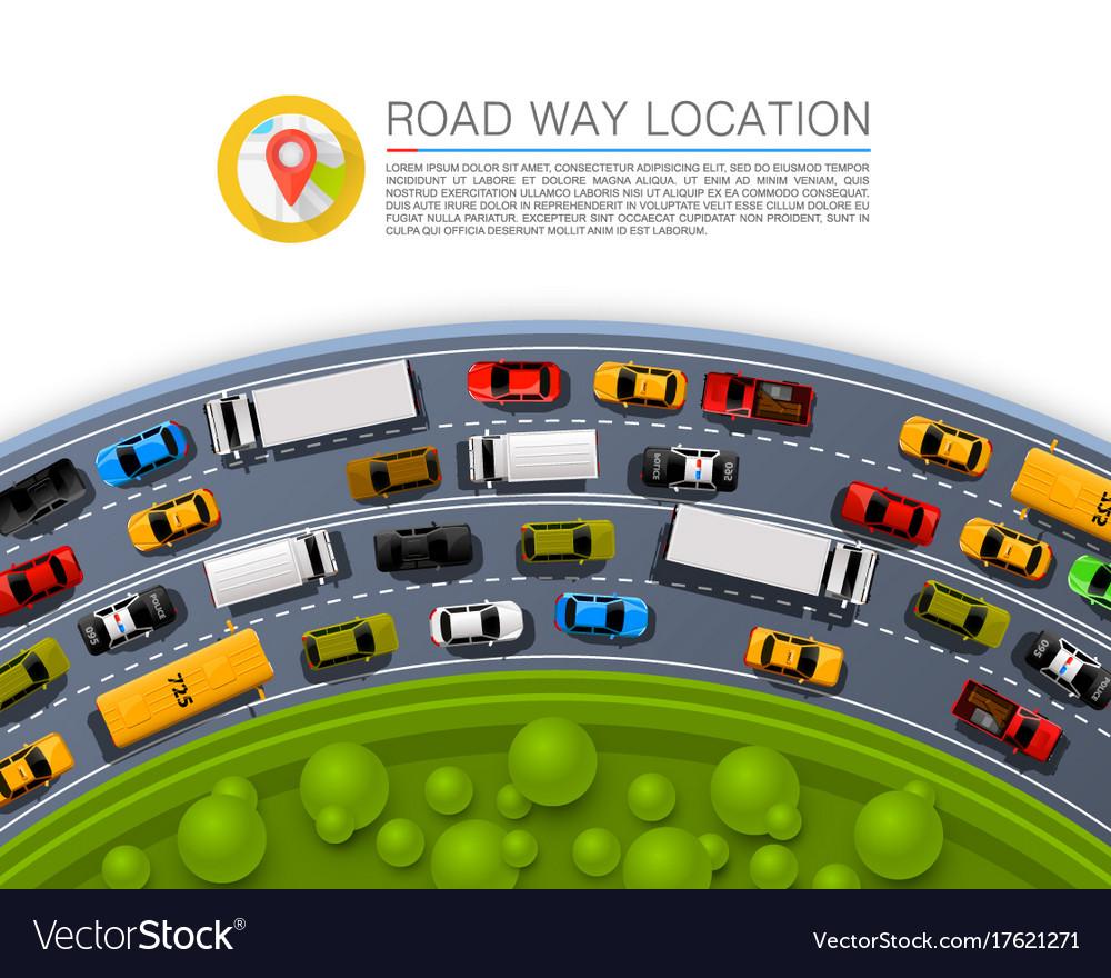 Road way location car racing info art cover