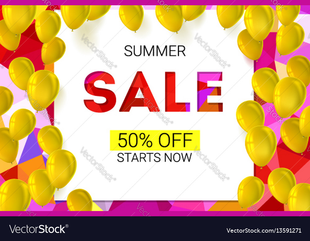 Sale banner on low poly background with inflatable