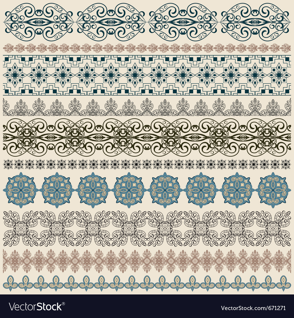 Seamless vintage border patterns vector image