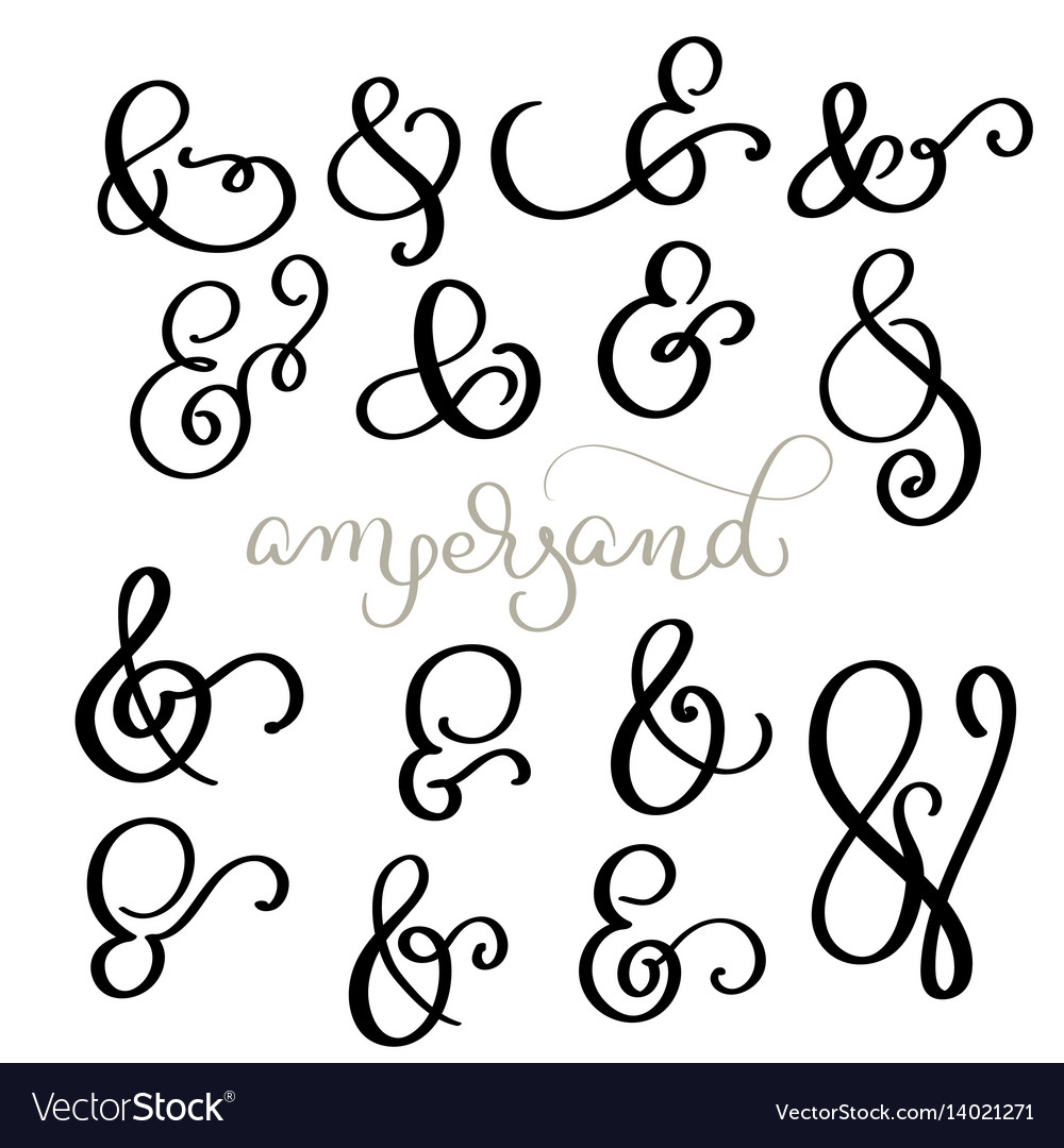 Set vintage sign and ampersand on white
